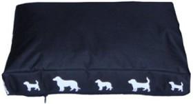 Hundmadrass Svart med hundar 100x67x8cm
