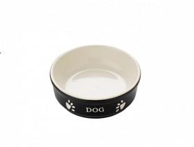 Keramikskål DOG 12x3,7cm SVART/BEIGE 0,13liter