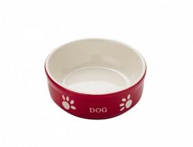Keramikskål DOG 13,5X5cm RÖD/BEIGE 0,24liter
