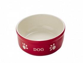 Keramikskål DOG 15,5x6,5 RÖD/BEIGE 0,46liter
