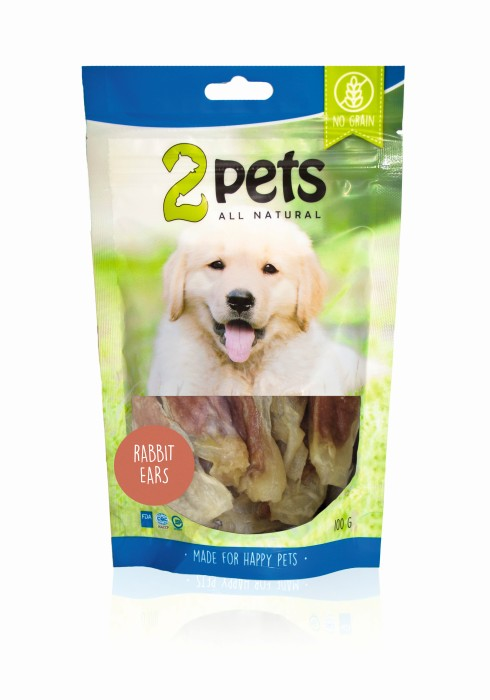 2pets Dogsnack Rabbit Ears 100gr