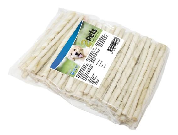 2Pets Tuggpinne vit, vriden 24 cm, 50-pack