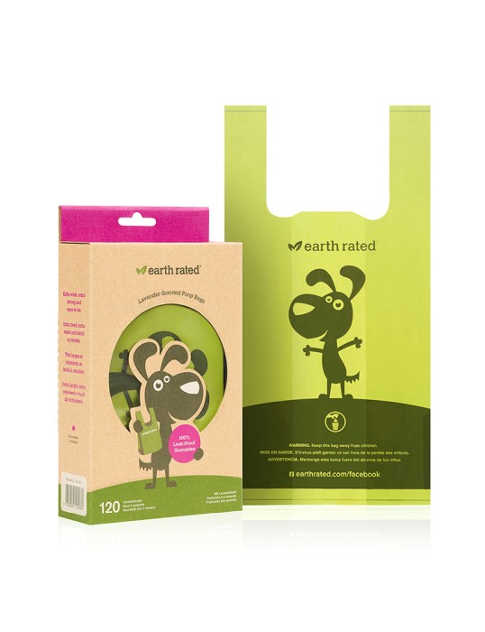 Bajspåsar Earth Rated Eco-Friendly m handtag 120-pack