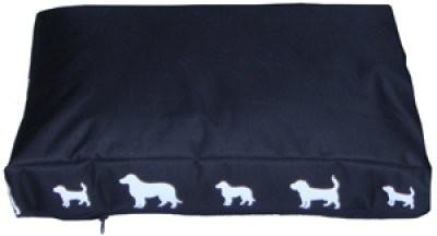 Ozami Hundmadrass Svart med hundar 90x59x8cm