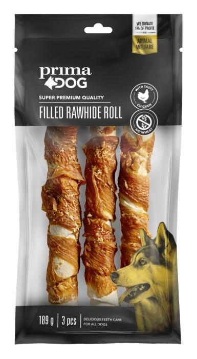 PrimaDog Fylld Tuggrulle m Kyckling 18cm 3-pack