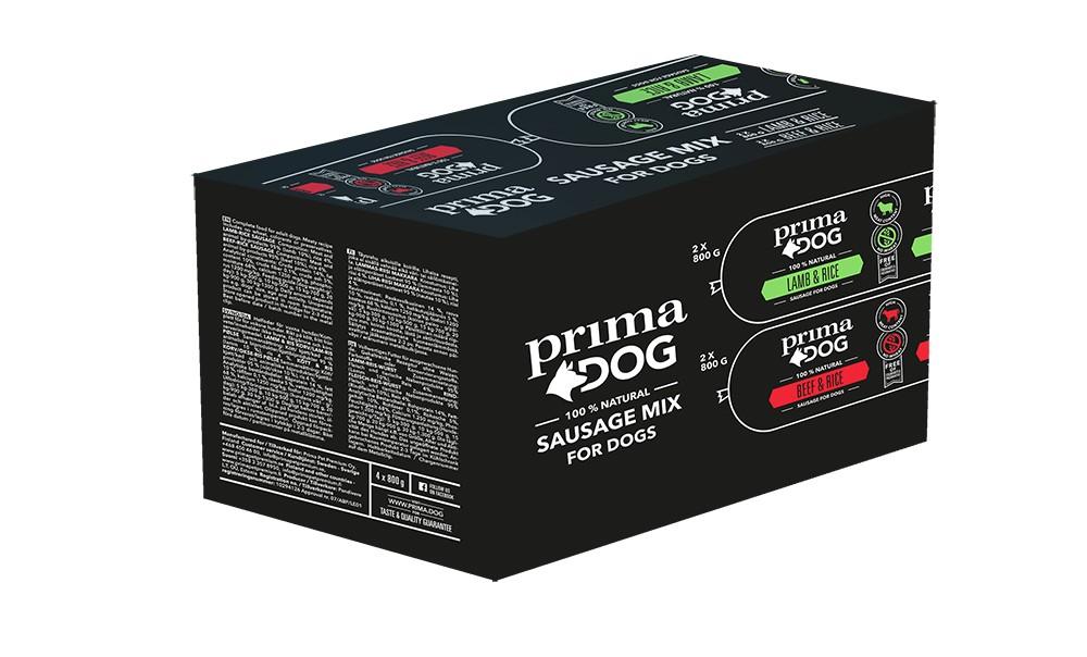 PrimaDog Köttkorv Multipack nöt & lamm 4 x 800g