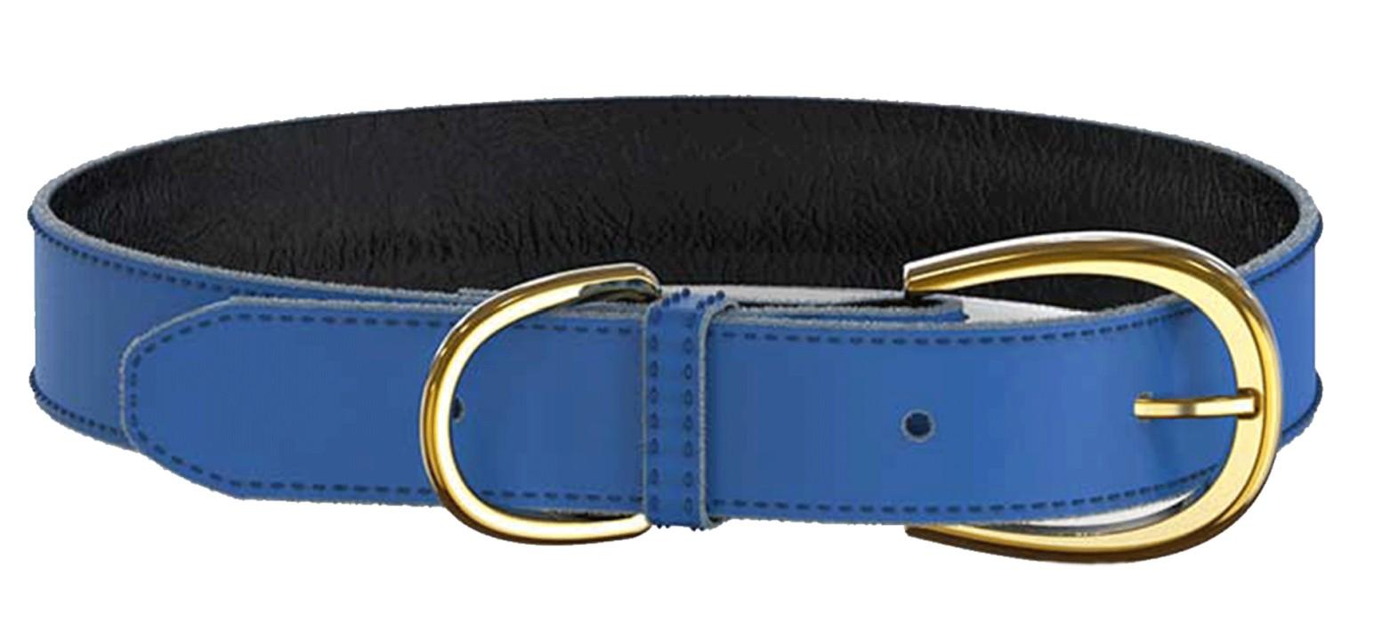 Swaggin Tails Läderhalsband, Blå