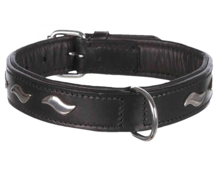 Trixie Läderhalsband m dekor, 42-48cm